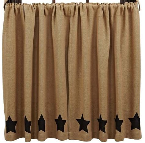 burlap country curtains burlap natural black stencil star tier curtains 36