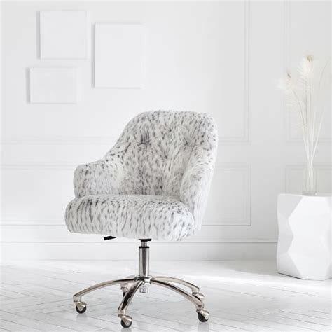 desk chair with fur gray leopard faux fur tufted desk chair pbteen