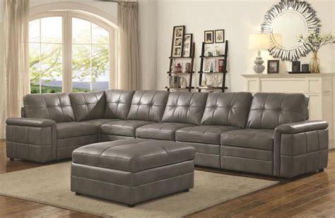 ellington contemporary  seat grey leather sectional
