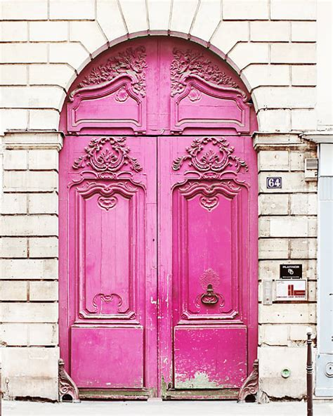7 fabulous front door colors page 3 of 8 picky stitch paris poster print 20x30 pink door white large wall