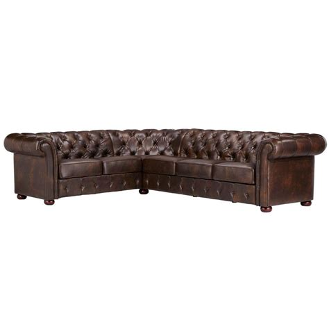 leather 3 piece sectional homesullivan radcliffe 3 piece chocolate bonded leather