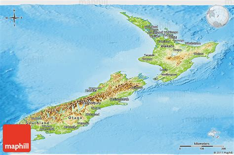 new zealand physical map physical panoramic map of new zealand