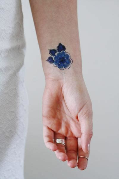 small blue flower tattoo small delft blue flower temporary tattoos by