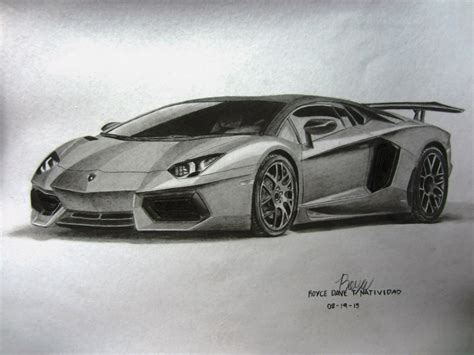 Lamborghini Drawing by My Lamborghini Aventador Graphite Drawing By Vinjiro On