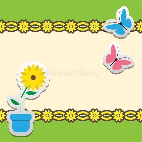 tekening vlinder met bloem kader met bloem en vlinder vector illustratie illustratie