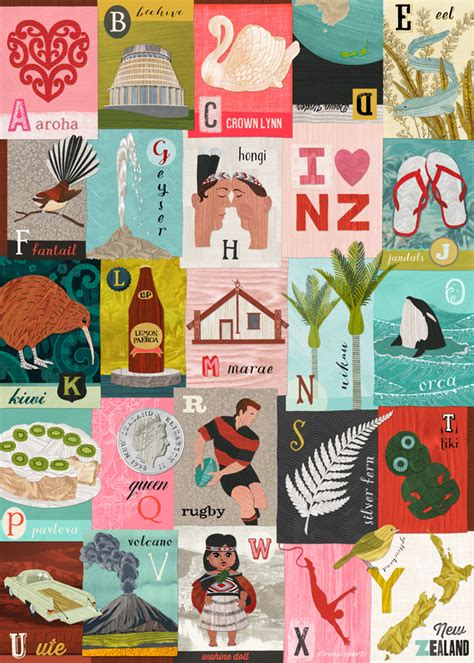 Gift Card New Zealand - new zealand alphabet gift wrap or poster by tanya wolfk