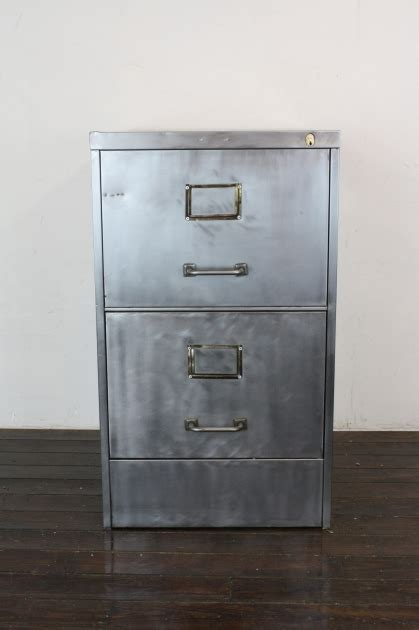 Vintage Art Metal 2 drawer stripped steel filing cabinet