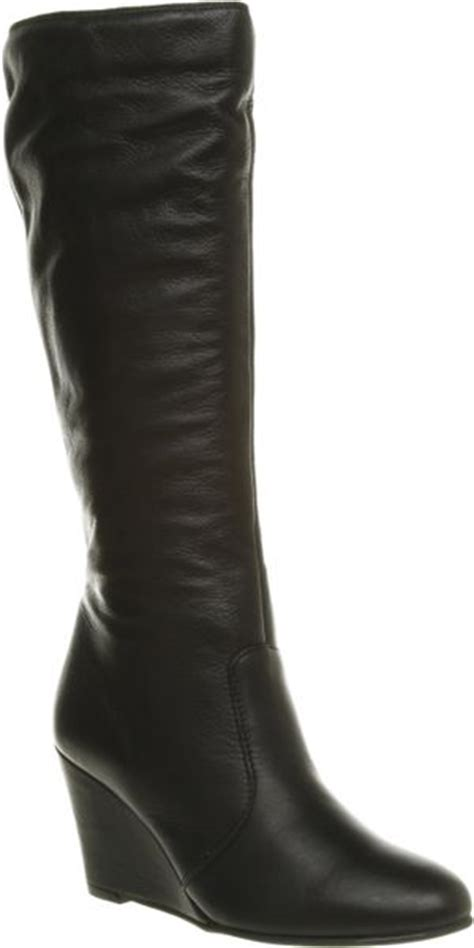 office jena plain zip wedge boot black leather in black lyst
