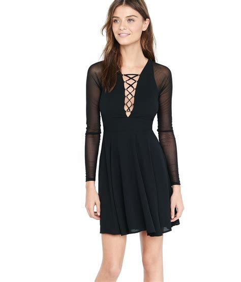 Lace Up Sleeve Dress lyst express black mesh sleeve lace up fit and flare