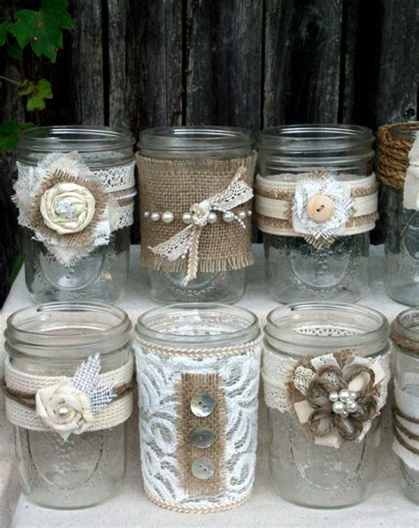burlap and lace decorated jars   Decorate Jars, Bottles