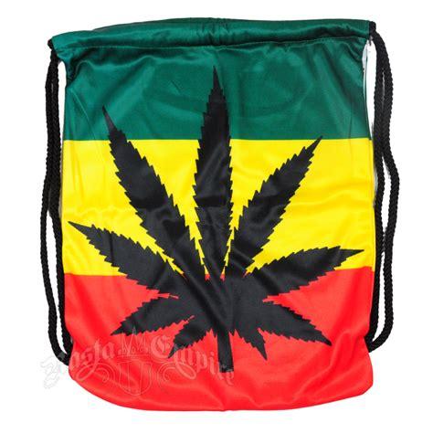 Lion Decor Home rasta marijuana leaf cinch backpack rastaempire com