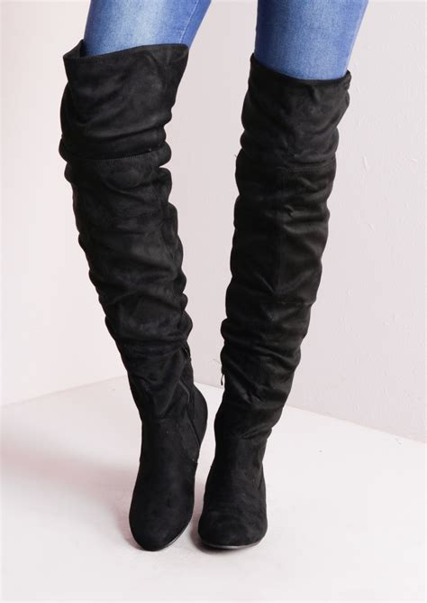 Summer Denim The Knee Boots Sepatu Boots Flat Shoes the knee flat boots suede black
