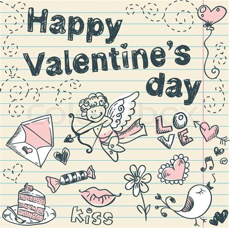 doodle valentines day doodle s day postcard stock vector