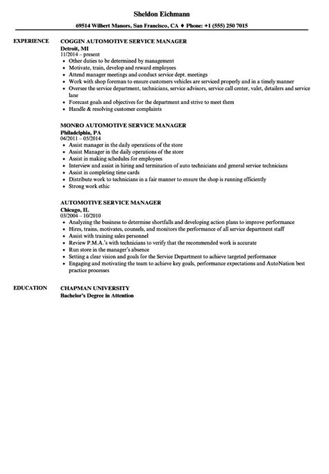 resume format for automobile service manager automotive service manager resume sles velvet