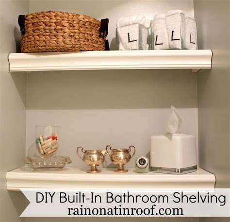 built in shelves bathroom built in bathroom shelving diy for 25 or less