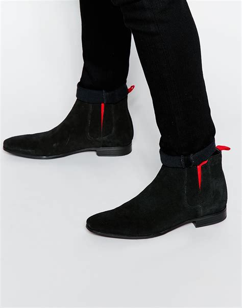 chelsea boots black suede asos chelsea boots in black suede with elastic in