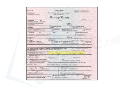 Sedgwick County Marriage License Records Butler County State Of Kansas Marriage License Issued By