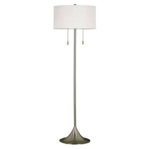 shop kenroy home stowe 61 in brushed steel floor l with fabric shade at lowes com