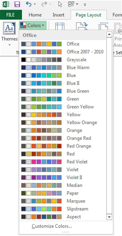 excel color themes 2013 using colors in excel peltier tech blog