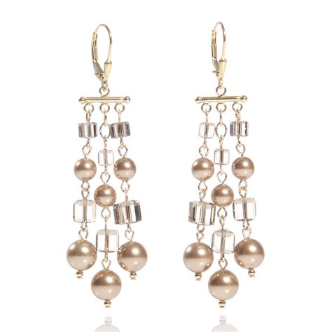 Crystal And Pearl Chandelier Earrings Llama Bird Radiant Swarovski Crystal And Pearl