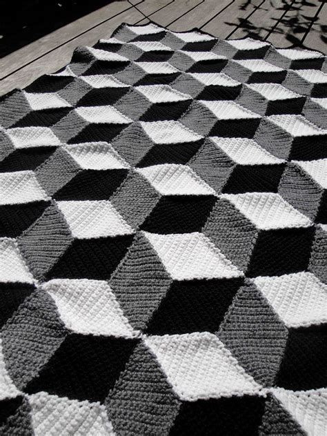 geometric pattern throw isometric blanket afghan geometric black white grey