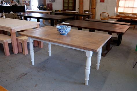 White Turned Leg Dining Table Farm Table With White Turned Legs