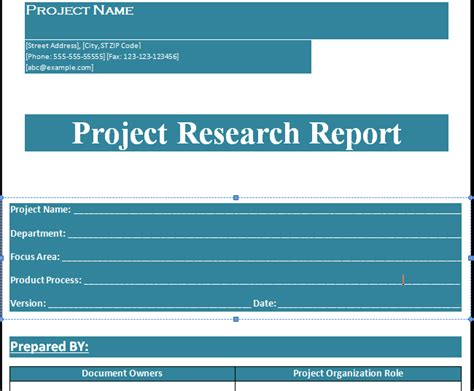 project research report template format projectemplates excel project management templates