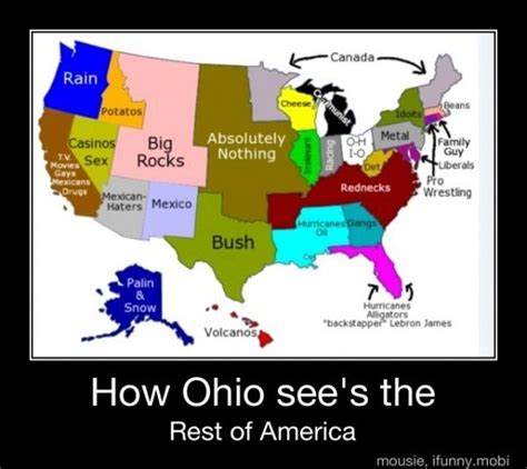 usa map jokes humorous stereotypical maps of ohio