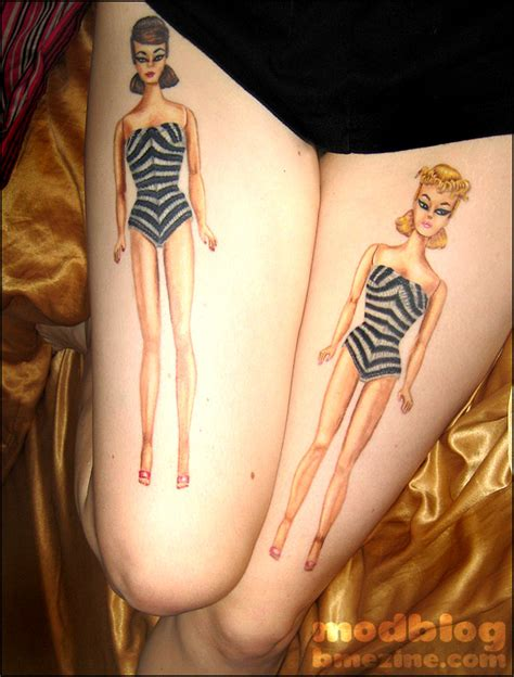 barbie tattoos retro thigh tattoos bme piercing and