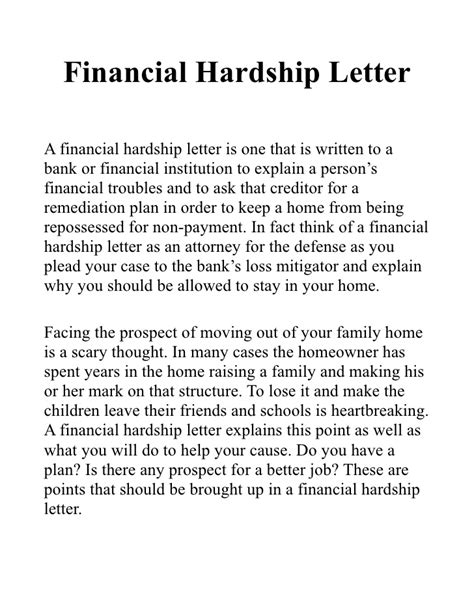 Financial Loan Letter Sle Financial Hardship Letter