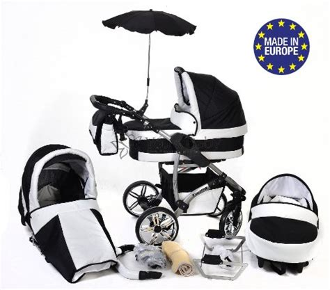 Setelan 3in1 Babyboy 3 in 1 travel system with baby pram car seat pushchair accessories black white twing