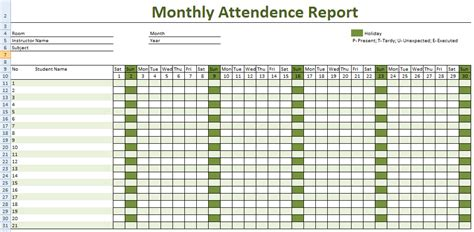 attendance sheet for employees excel 2016 printable