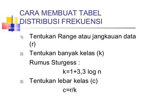 cara membuat tabel distribusi frekuensi tunggal statistika tabel distribusi frekuensi