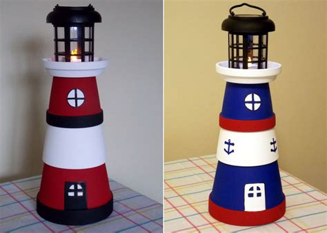 terra pot lighthouses made from various size terra pots