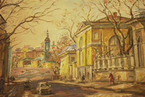 the russian canvas painting quot moscow street quot russian painting oil on canvas