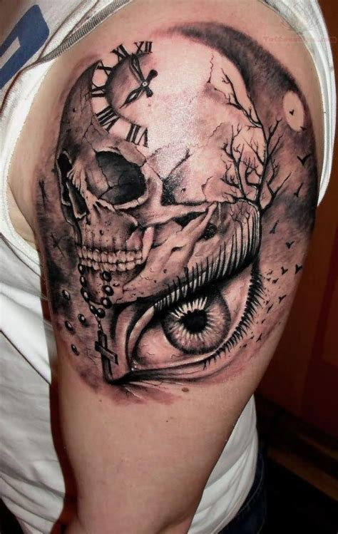 eye tattoo with skull clock tattoo images designs