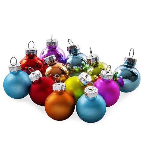 set of 12 assorted colour mini glass bauble decorations by