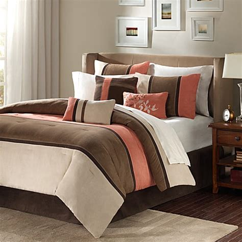 Bed Bath Comforters Bedding Sets Park Palisades 7 Comforter Set In Coral Bed Bath Beyond