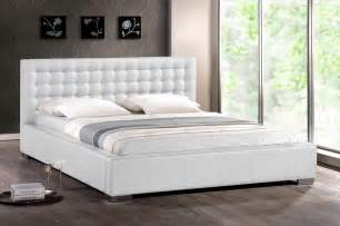 King Bed Frame And Headboard Modern White Faux Leather King Platform Bed Frame Tufted Stuffed Headboard Ebay