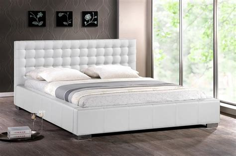 King Size Bed Frame With Headboard Modern White Faux Leather King Platform Bed Frame Tufted Stuffed Headboard Ebay