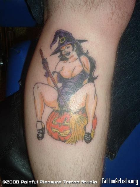 pin up witch tattoo on leg calf