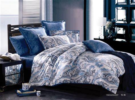 blue king size bedding sets aliexpress buy luxury paisley cotton satin