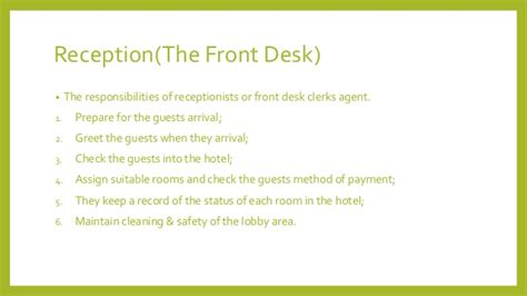 front desk security responsibilities hotel front desk responsibilities front office