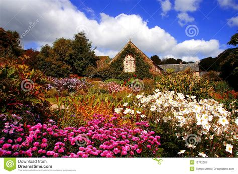 Amazing Magic Garden With Flowers And House Stock Image Magical Flower Garden