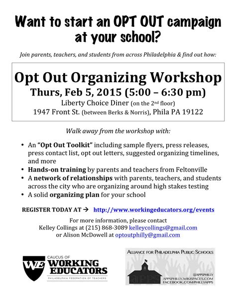 Finders Opt Out Opt Out Organizing Workshop Working Educators