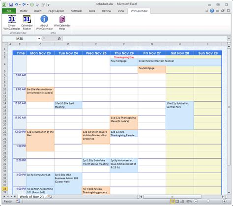 event schedule office templates