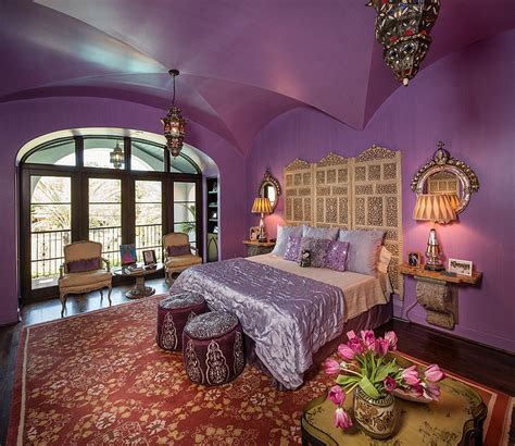 purple is a hue of a moroccan themed room with a