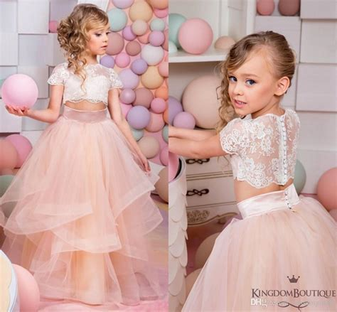 2016 coral two pieces lace gown flower dresses