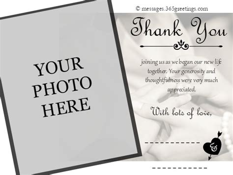 wedding photo thank you card template free wedding thank you messages 365greetings