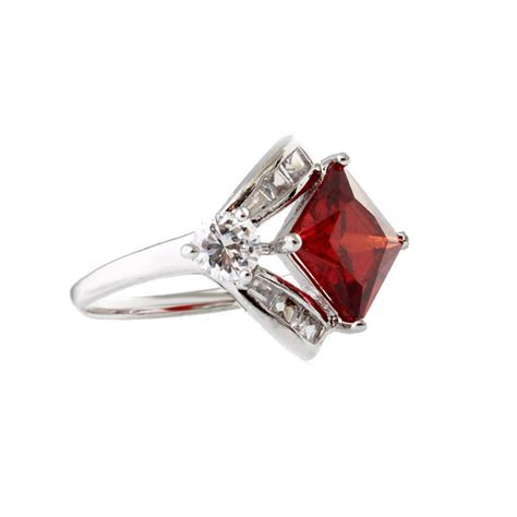 Ruby Zirconia by Geometric Ruby Garnet Cubic Zirconia Silver Engagement Ring